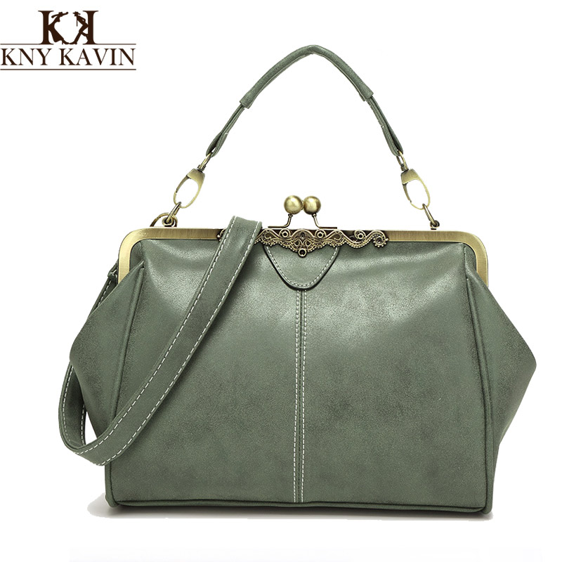 New vintage bags retro PU leather tote bag women messenger bags small green clutch ladies shoulder handbags(China (Mainland))