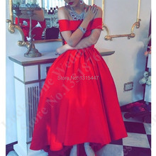 Vestidos Largos Cheap High Low Prom Dresses Boat Neck Taffeta Sexy Long Red Evening Dress 2016 Women Dress For Party Over(China (Mainland))