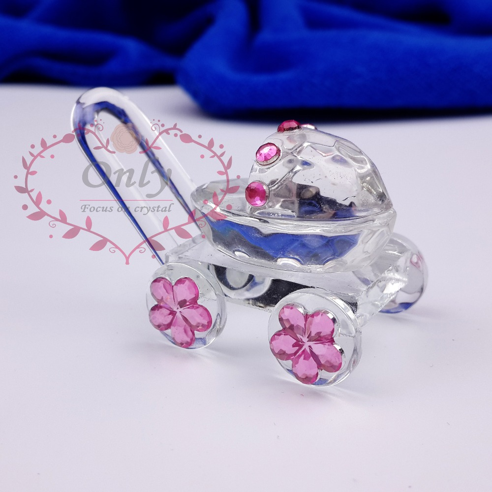 Free Shipping 30PCS/LOT Cute Crystal Glass Baby Carriage Baby Shower Favors(China (Mainland))