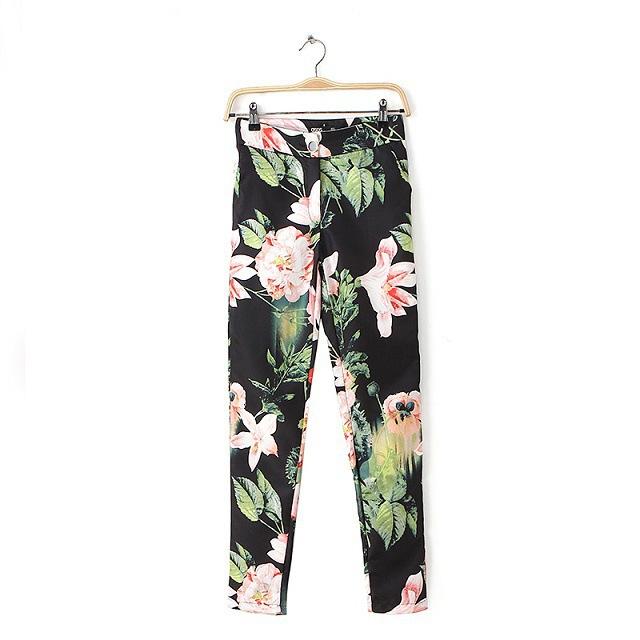 Women Casual Sports Floral Print Pants Skinny Sweatpants Haren Joggers Trousers Legging Pantaloon Pencil Pant Mujer Capris(China (Mainland))