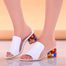 Rhinestone sandals, slippers 2016 summer fish head, diamond big yards sandals, thick with female sandals