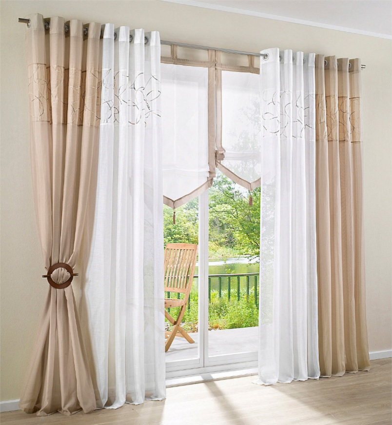 Embroidered design window curtains for living room for Rustic curtains for living room