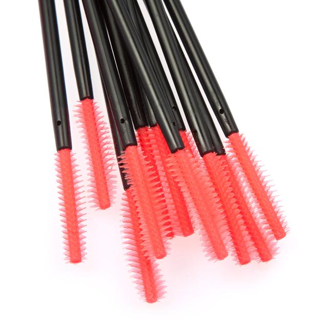 50 Pcs em forma de cabeça de cílios escova maquiagem ferramentas escova de rímel varinhas aplicador de maquiagem estilo