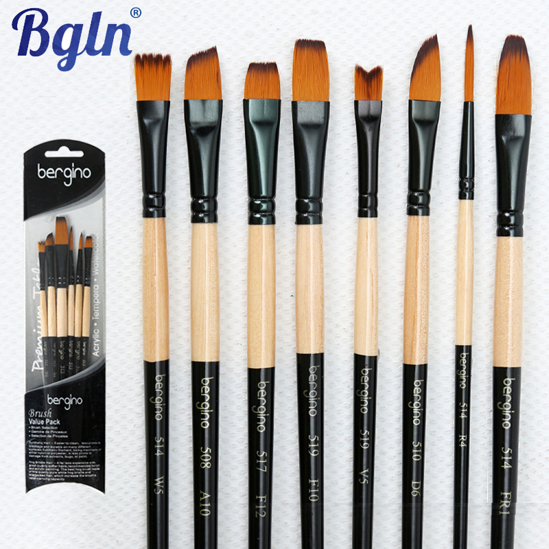 Bgln 6Pcs Artist Paint brushes Set For Oil Acrylic Watercolor Gouache Painting Brush Art Supplies(China (Mainland))