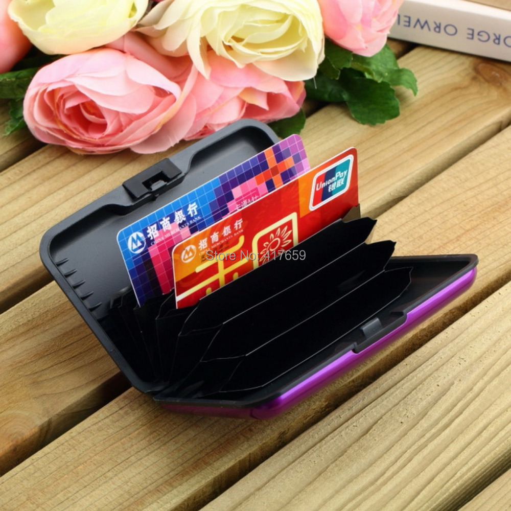 Waterproof Business ID Credit Card Holder Wallet Pocket Case Aluminum Metal Shiny Side Anti RFID scan Cover(China (Mainland))