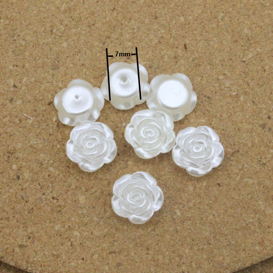 100pcs/lot 12mm White Flower Flat Back ScrapBooking ABS Pearl Beads Jewelry Crafts Decoration Material DIY Jewelry F1571(China (Mainland))