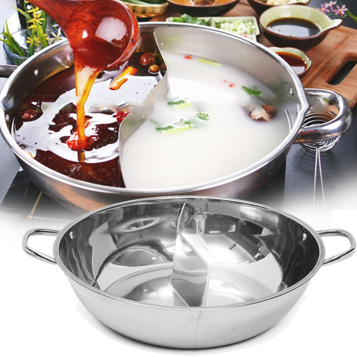 Twin Divided Hot Pot Stainless Steel 28cm/36cm/40cm Cookware Induction Little Sheep Pot Hot Pot Ruled Soup Stock Pots(China (Mainland))