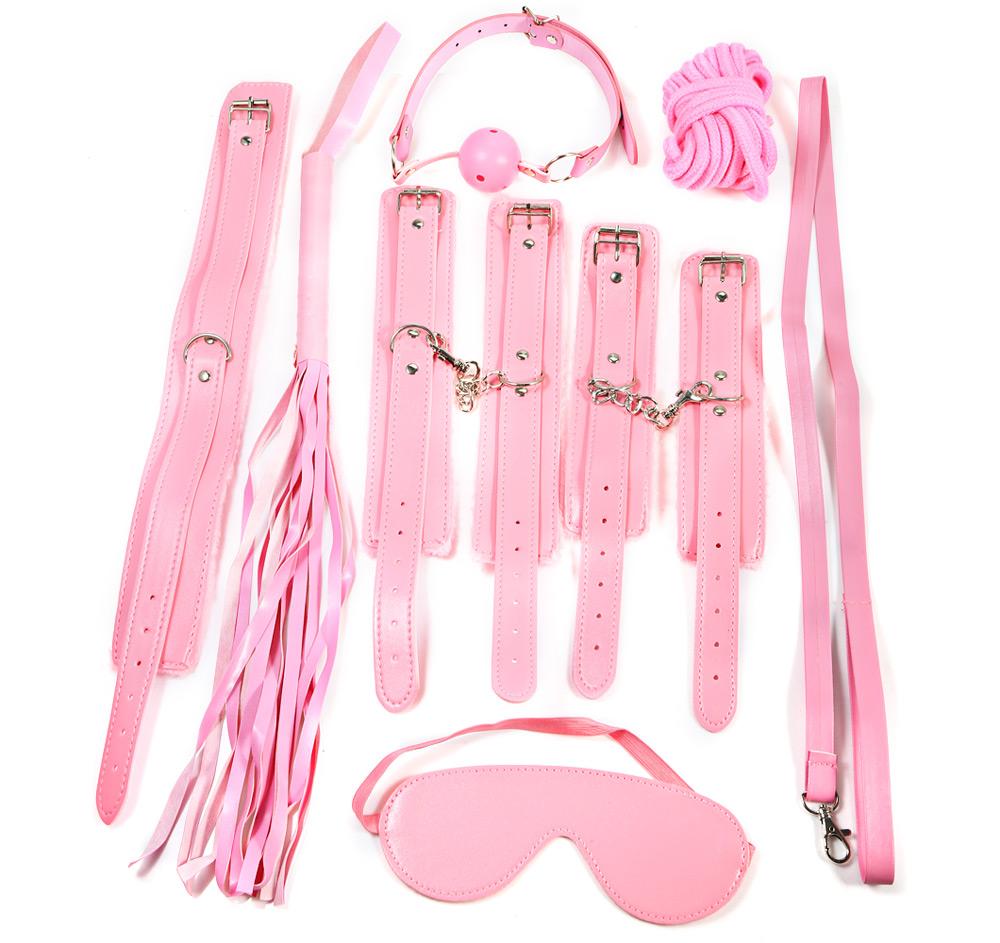 Pink Adult Sex Game Leather 7 Bondage Kit Set Hand Cuffs Whip Rope Mask Bdsm Fetish Bondage Restraints Erotic Toys For Couples(China (Mainland))