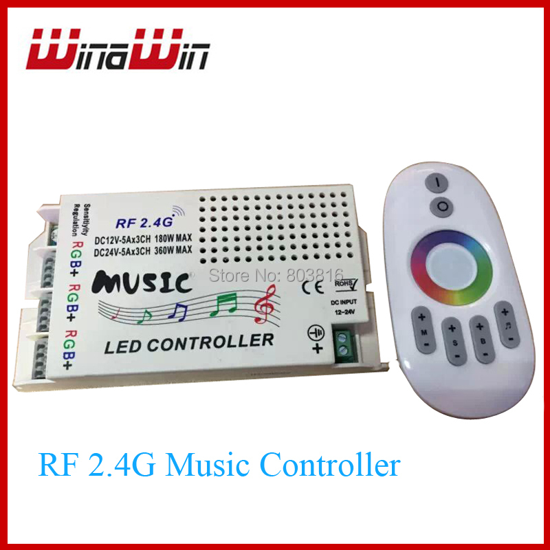 DC12-24V Wireless RF 2.4G Remote Control LED Music Controller RGB led Controller for RGB LED Strips(China (Mainland))