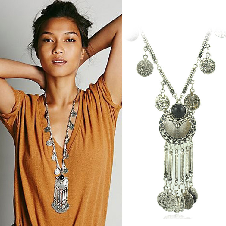 Bohemian Jewelry Resin Beads Gem Vintage Silver Coin Long Pendant Necklace Gypsy Tribal Ethnic Turkish Jewelry(China (Mainland))