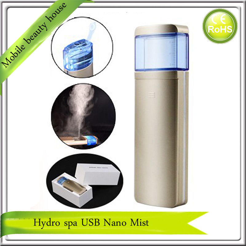 2015 Newest High Quality Hydra Spa Ion Nano Water Facial Beauty Handy Mist Spray Face Steamer Gold Color