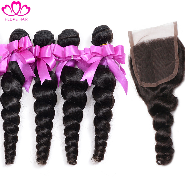 Malaysian Loose Wave 4 bundles with closure Unprocessed Human Hair Weave 7A Malaysian Loose Wave Virgin Hair With Lace Closure
