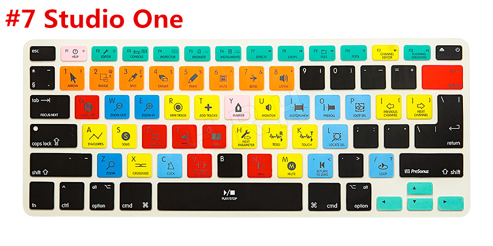 For Studio One Functional Shortcut Silicone Keyboard Cover Skin for Macbook Air 13 inch, for Macbook Pro 13, 15 US&EU(China (Mainland))