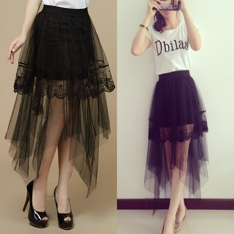 Fashion Irregular High Waist Women Black Ball Gown Skirt 2015 Summer Style Slim Show Thin Saias