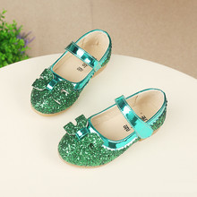 SpringAutumn Kids Fashion Princess Flat Shoes Girls Korean Bow PU Leather Glitter Child Dance Shoes School Girl Shoes Big&Little(China (Mainland))