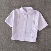 Buy Cute Girls Japanese School Uniform Style Girls Short JK White Blouse Accordion Pleats Peter Pan Collar Short Sleeve Shirt Tops for $18.99 in AliExpress store