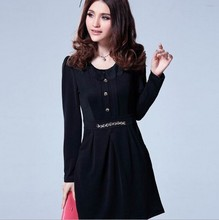 Women Plus Size Dress Winter Dresses 2015 New Fashion Ladies Clothes O-neck Long Sleeve Short Dress Roupa Mujer U032