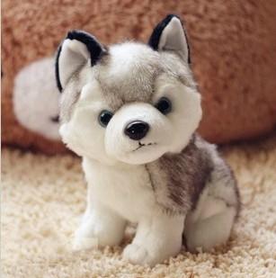 Kawaii 18 CM Simulation Husky Dog Plush Toy Gift For Kids Stuffed Plush Toy Retail(China (Mainland))