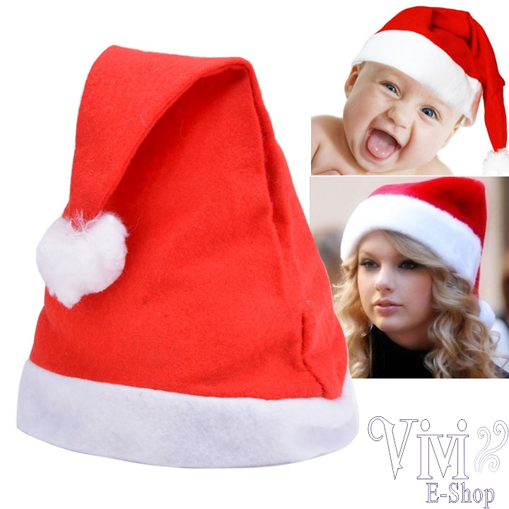 Hot Sale 20pcs Deluxe Father Christmas Hat Fashion Xmas Party Fancy Red Non-Woven Santa Claus Hats New Year Christmas Gift SJM(China (Mainland))