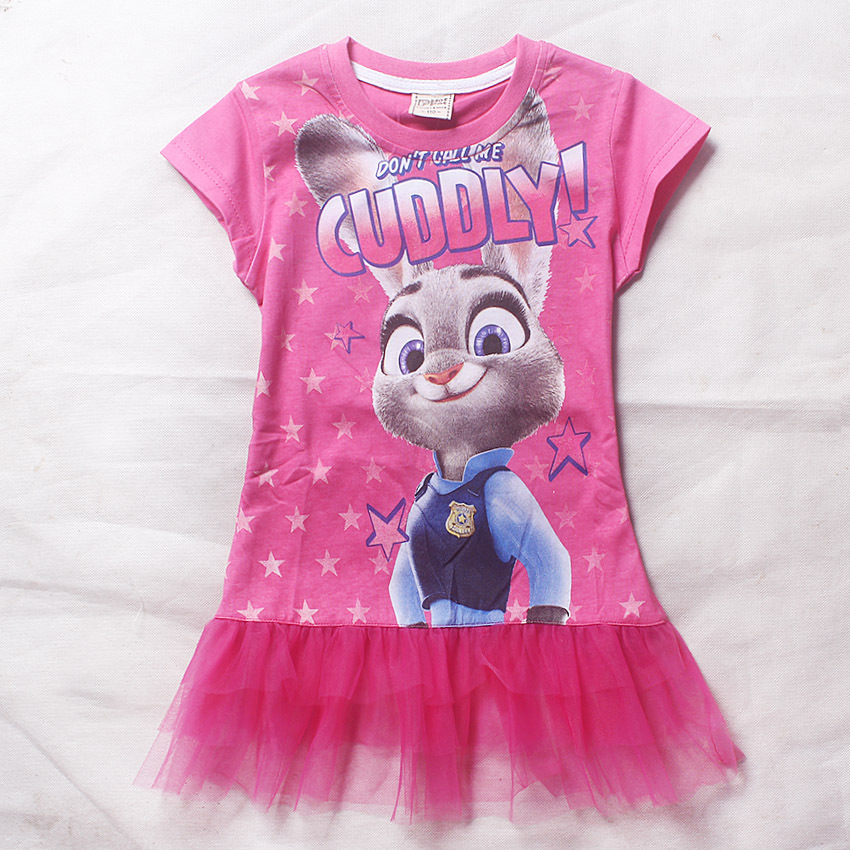 4-9y Summer Girl Dress Children Girls Zootopia Dress Kids Clothes Fashion Rose Pink Cuddly Baby Girls Clothing Kids Dress Cotton(China (Mainland))
