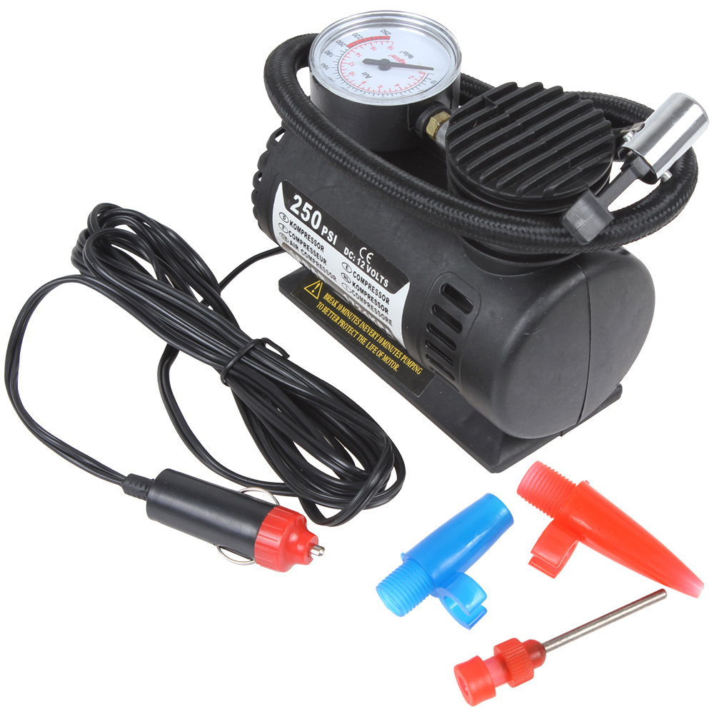 Portable 12V 90W 250PSI Electric Car Tire Tyre Inflator Pump Auto Car Pump Air Compressor with 3 Pneumatic Nozzle(China (Mainland))