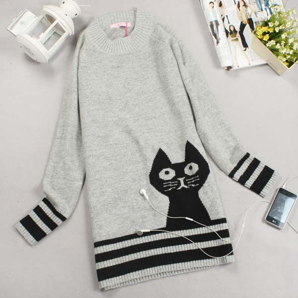2015 casual cat sweater Autumn Pure Knit Long Sleeve Loose Long Sweater Women's Turtleneck Cat Design Gray Color knitwear W00353(China (Mainland))