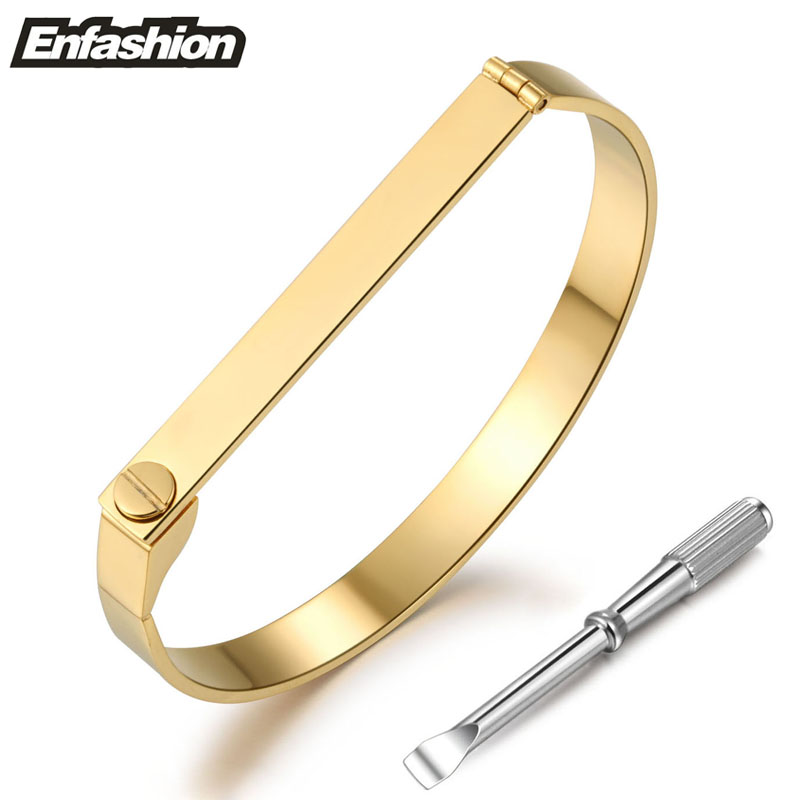 18KGP gold color fashion punk flat screw cuff bracelet women couple bangle 316L stainless steel jewelry wholesale free shipping