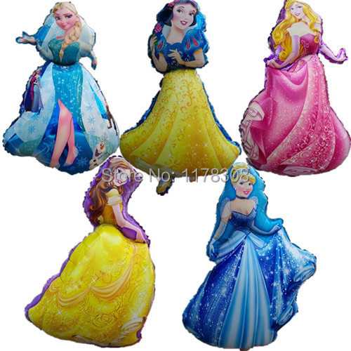 5pcs/set Large Cartoon Princess Cinderlla Belle elsa foil balloons snow white kids Holiday gifts Birthday wedding decorations(China (Mainland))