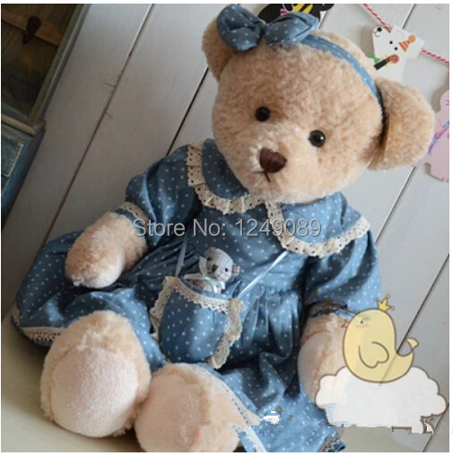 65 cm teddy bear with dress soft stuffed plush toy girls gift(China (Mainland))