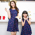 Mother Daughter Dresses 2016 Summer Cotton Cherry Print Family Matching Clothes Family Clothing Vestidos Baby Girl