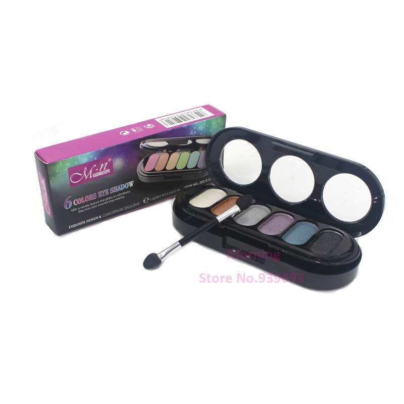 TOP Quality 6 Colors Diamond Bright Colorful Makeup Eye Shadow Super Make Up Set Flash Glitter Eyeshadow Palette With Brush(China (Mainland))
