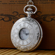 2016 New Black Silver Roman numerals Vintage watch Quartz Pocket Watch Fob Pendant Necklace Antique gift(China (Mainland))