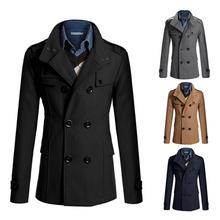 2015 winter UK style long trench coat men casual men's windbreaker fashion jacket men trench coat men outwear ZMS08(China (Mainland))