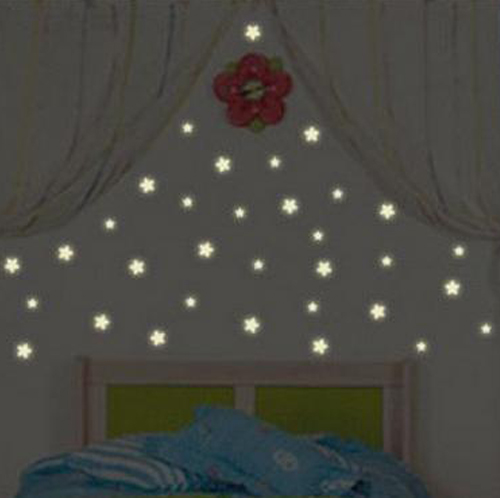 100 Pcs Wall Stickers Home Decor Glow In The Dark Star Stickers Decal Baby Kids Gift Nursery Room #45174(China (Mainland))