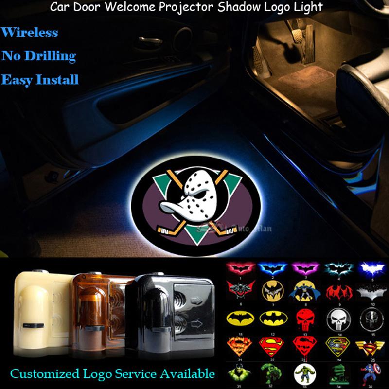 2x Anaheim Ducks Logo Wireless Senor Car Door Welcome Ghost Shadow Spotlight Laser Projector Puddle LED Light(China (Mainland))