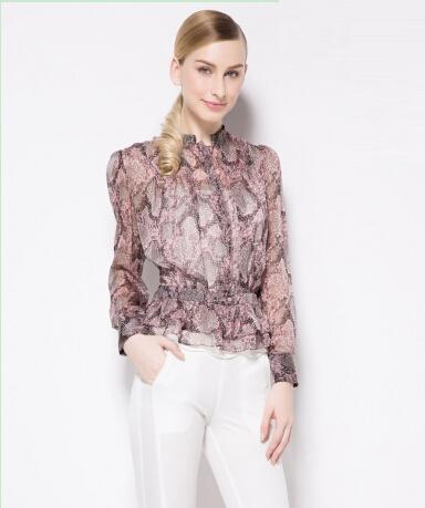 Promotion! Women Fashion Silk Blouse Shirt Long Sleeve Floral Print Tops SC460016(China (Mainland))