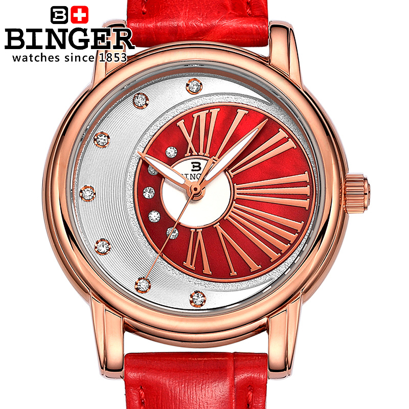 Genuine Swiss BINGER Women diamond sapphire watch ladies fashion casual female waterproof sunflowers series Luminous(China (Mainland))