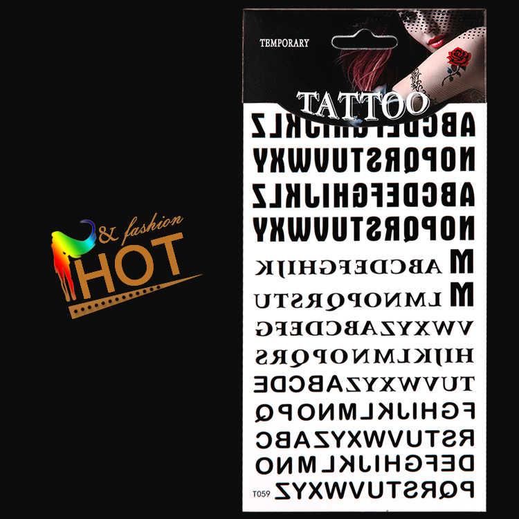 temporary tattoos letters/arm,waist,back,body/Alphabet A to Z,sticker/waterproof,transfer fake tatoo/CE(China (Mainland))