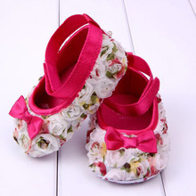 Newborn Pre walker Shoes Flowers Shading Bow Baby Shoes Soft Sole Shoes