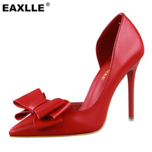Soft Leather D'Orsay Delicate Bowtie Sexy Thin High Heel Pumps Top PU Leather Weeding Shoes Red Pointed Shoes Women Pumps(China (Mainland))