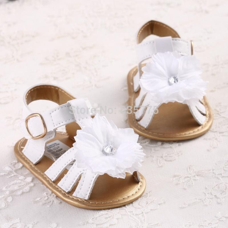 2015 New Fashion Summer Newborn Baby Girls Kids Prewalker Shoes Pure White Princess Infant Toddler Soft Soled Anti-slip Sandals(China (Mainland))