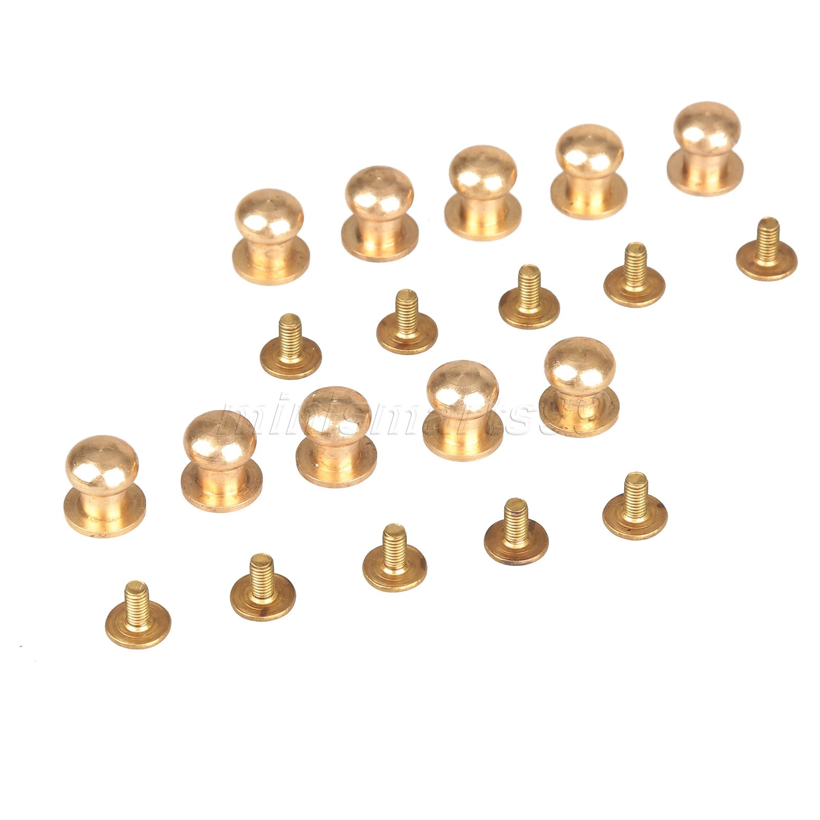 10pcs 5/6/7/8/9/10mm Solid Brass Belt Bag Screw Rivet Knob Round Button Chicago Screw In Button Studs Leather Craft Accessories(China (Mainland))