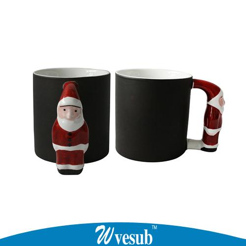 1pc Cute Chaning Color Mug Magic Photo Cup Santa Claus Handle Mug Lovely Cartoon Ceramic Cup For Print Christmas Gift Cup(China (Mainland))