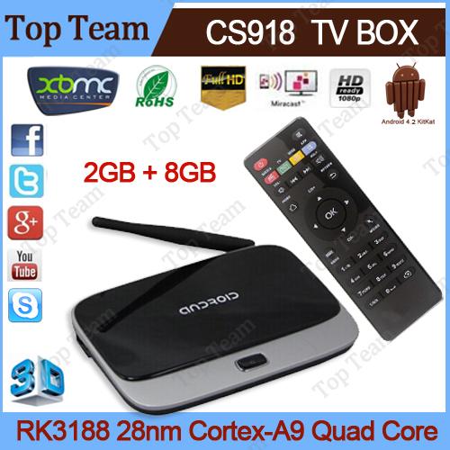 Телеприставка OEM 4.2 TV Box Q7 CS918 HD 1080P RK3188T 2 /8 XBMC Wifi CS918 tv box