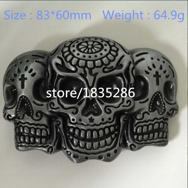 Retail Wholesale 2015 New Style Skull Head Metal Mens belt buckle For 3 8cm 1 5in