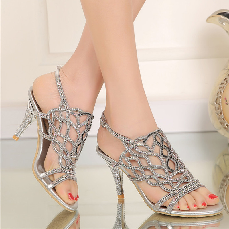 2016 Fashion Summer Sandals with Rhinestone Gorgeous Wedding Party High Heels Plus Size 34-44 Black Gold Silver Color Available