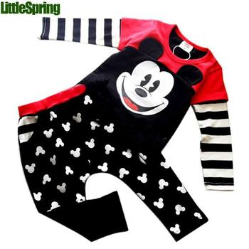 Cartoon minie Outfit Sets Baby Boys Girls Clothes Coat Top +Trousers Pants kids clothes children clothing