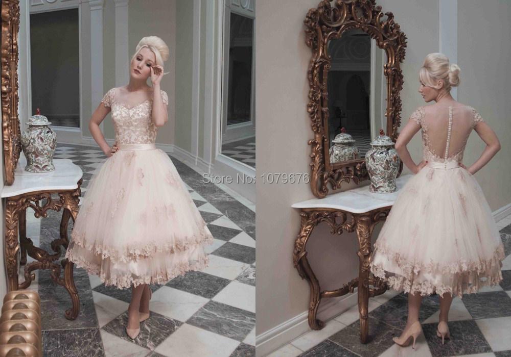 Retro wedding dress tea length images for Retro tea length wedding dresses