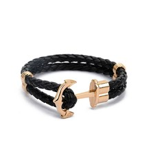 High Quality PU Leather Anchor Bracelet Men Charm Arm Cuff for Women Best Friend Gift Summer Style pulseira Fashion Jewelry