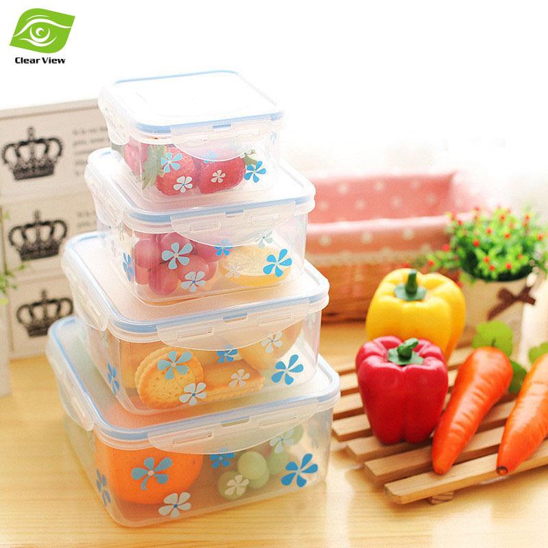 1PC Printing Plastic Food Container Crisper 4 Sizes Refrigerator Vegetable Food Preservation Storage Box(China (Mainland))